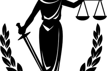 Image of a blindfolded woman in a dress holding a sword and the scales of justice. A wreath is at her feet in a semicircle surrounding her..