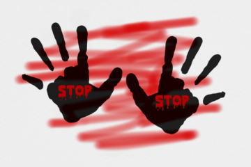 Two black handprints with Stop written on them in red, against a red background